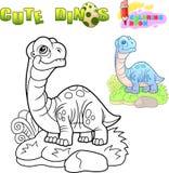 Apatosaurus de dinosaure, illustration drôle, livre de coloriage illustration libre de droits