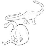 Apatosaurus line-art. Cute  cartoon apatosaurus actions Stock Photography