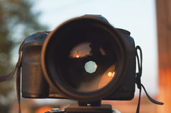 Apature on professional camera. Aperture on professional camera in the outdoor royalty free stock photos