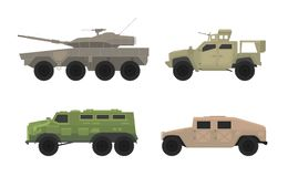 Apc personal carrier vehicle transport in military war set collection -  royalty free illustration
