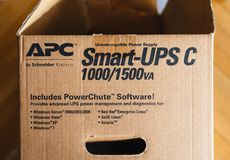 APC UPS unboxing box for server room. PARIS, FRANCE - MAR 29, 2018: Detail of the open box of APC Smart-UPS C 1000VA LCD 230V enterprise-level uninterruptible Stock Photography