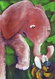 Ape arrabbiato con l'elefante Fotografia Stock Libera da Diritti