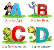 Ape, Bear, Chamelion and Dinasour with Alphabate Stock Image