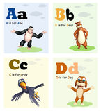 Ape, Bear, Crow and Dog with Alphabate Stock Photography