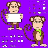 Ape cartoon expressions set. Monkey cartoon expressions set in vector format very easy to edit Stock Images