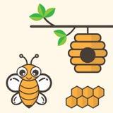 Ape del fumetto con la casa di ape e del favo Fotografie Stock Libere da Diritti