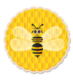 Ape del miele con il fondo del pettine del miele Fotografie Stock Libere da Diritti