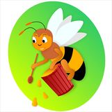 Ape e miele Fotografia Stock Libera da Diritti