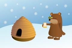 Ape e miele dell'alveare dell'orso royalty illustrazione gratis
