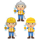 Ape in Engineer version ,cartoon character. Ape cartoon character , Engineer suit and hard ware, ,cartoon character Royalty Free Stock Photography