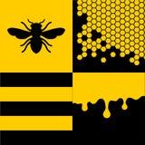 Ape Honeycells e Honey Patterns Set Vettore Fotografia Stock Libera da Diritti