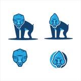 Ape monkey icon logo. Vector body and head baboon monkey blue color, icon logo, logo app, illustrator Stock Photo
