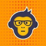 Ape, Monkey With Glasses Vector Sticker, Print Royalty Free Stock Image