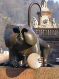 Ape at the old bridge. In Heidelberg stock image