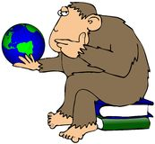 Ape Pondering A Globe Royalty Free Stock Photos