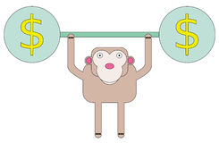 Ape wealth lifting. An ape carrying weights with a dollar sign Royalty Free Stock Photography