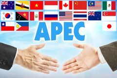 APEC Asia-Pacific Economic Cooperation. Economical alliance of countries of Asia-Pacific region. APEC Asia-Pacific Economic Cooperation. Economical alliance of stock photography