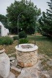 Apedreje a árvore verde boa no apulia do alberobello da cidade de Itália Trullis fotos de stock royalty free