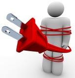 Apego elétrico - cabo amarrado em torno da pessoa Imagem de Stock Royalty Free