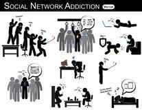 Apego social da rede um smartphone do uso do homem todas as vezes, em toda parte (no toalete, no escritório, na casa, no ônibus,  ilustração do vetor