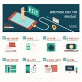Apego y función de Smartphone infographic con la bandera Imagen de archivo libre de regalías