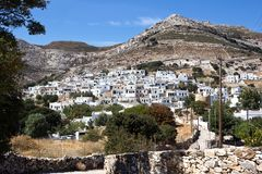 Naxos - Apeiranthos, scenic view of a mountainous village in the aegean island - Cyclades Greece. Apeiranthos traditional village built on the foothill of royalty free stock photo