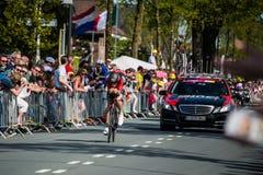 Apeldoorn, Nederland 6 Mei, 2016; Professionele fietser tijdens het eerste stadium van de Reis van Italië 2016 Stock Afbeeldingen