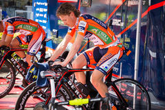 Apeldoorn, Netherlands May 6, 2016;  Damiano Cunego is warming up on the rollers Royalty Free Stock Image