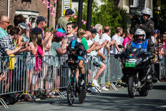 Apeldoorn, Netherlands May 6, 2016; Professional cyclist during the first stage of the Tour of Italy 2016. A Time Trial flat stage in Apeldoorn royalty free stock photos