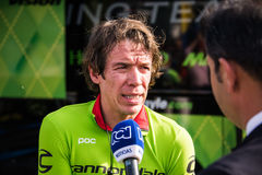 Apeldoorn, Netherlands May 6, 2016; Rigoberto Uran during an interview Royalty Free Stock Images