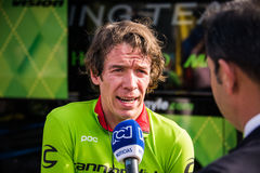 Apeldoorn, Netherlands May 6, 2016; Rigoberto Uran during an interview Royalty Free Stock Photo