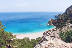 Apella海滩,喀帕苏斯岛海岛,希腊 库存照片