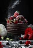 Apelmácese con el chocolate que adorna con la fresa y la frambuesa Fotografía de archivo