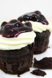 Apelmace el chocolate con el queso poner crema y el blueber fresco Fotografía de archivo