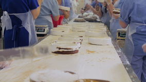 Apelmaza la fábrica de la producción Las manos el cocinar, preparándose se apelmazan en un transportador El adornamiento se apelm almacen de metraje de vídeo