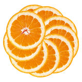 Apelsin Apelsinskivor som staplas i en cirkel isolerad vit backgr Fotografering för Bildbyråer