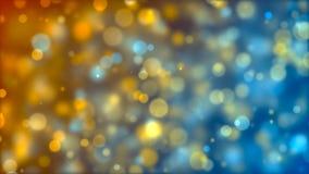 Apelsin-, blått- och silverpartiklar bakgrundsbokehmusik bemärker tematiskt Royaltyfri Bild