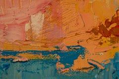 Apelsin blått, rosa färger, gult målningslut upp, visningtextur Royaltyfria Bilder
