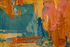 Apelsin blått, rosa färger, gult målningslut upp, visningtextur Arkivfoto