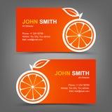 Apelsin för affärskort Royaltyfri Fotografi