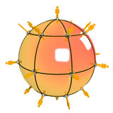 Apelsin för globalt nätverk Arkivfoto