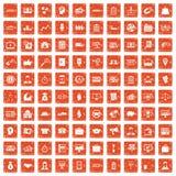 apelsin för grunge för 100 affärsgruppsymboler fastställd royaltyfri illustrationer