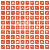 apelsin för grunge för 100 anatomisymboler fastställd Arkivbilder