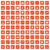 apelsin för grunge för 100 antiterrorismsymboler fastställd Fotografering för Bildbyråer