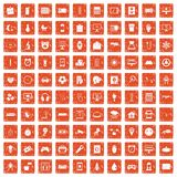 apelsin för grunge för 100 app-symboler fastställd Royaltyfria Foton