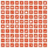 apelsin för grunge för 100 apparatapp-symboler fastställd Arkivbild