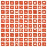 apelsin för grunge för 100 arkitektursymboler fastställd Arkivfoton