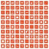 apelsin för grunge för 100 avdelningssymboler fastställd Arkivbilder