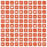 apelsin för grunge för 100 cybersäkerhetssymboler fastställd Fotografering för Bildbyråer