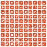 apelsin för grunge för 100 dialogsymboler fastställd Royaltyfri Fotografi